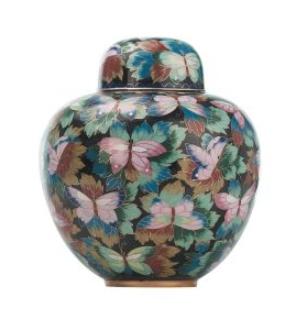 Cloisonne Butterfly Garden Urn